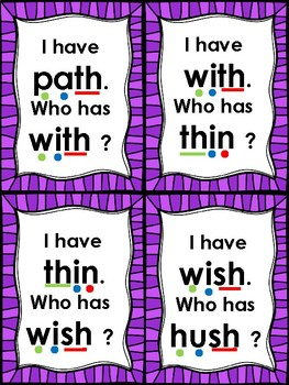 I Have... Who Has... th and sh digraphs with short vowels Common Core Aligned