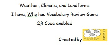 Weather and Landforms Vocabulary Review - I Have Who Has Game