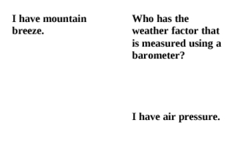 Weather Vocabulary Review - I Have Who Has Game