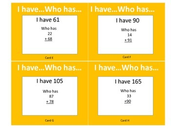 I Have Who Has with 2 Digit Addition