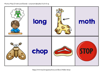 I Have Who Has with Consonant Digraphs ch, sh, th, ng