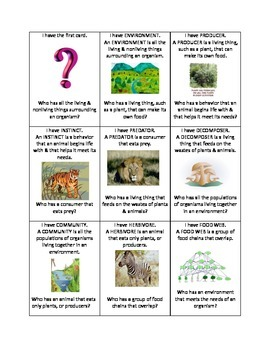 I Have, Who Has...Ecosystem Vocabulary Review Game