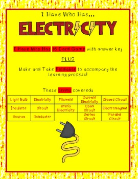 I Have Who Has...Electricity Plus Foldable! A Fun and Engaging Game
