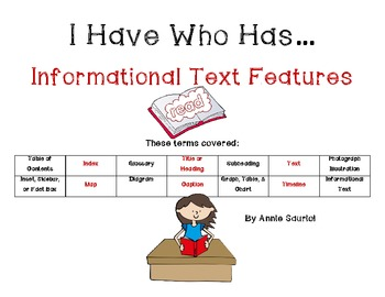 I Have Who Has...INFORMATIONAL TEXT FEATURES Game  Part 1 Common Core ELA