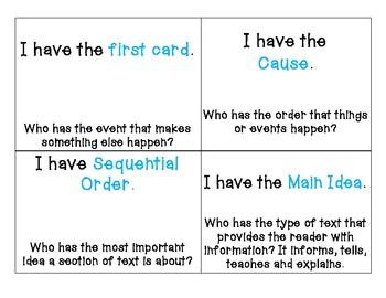 I Have Who Has...INFORMATIONAL TEXT STRUCTURES Game Common Core ELA