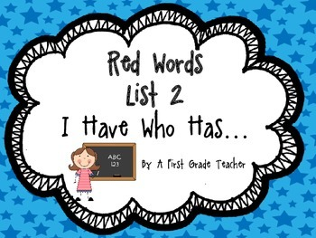 I Have Who Has...Orton Gillingham Style Red Words Game LIST 2