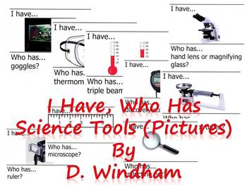 I Have, Who Has...Science Tools (Pictures only) LARGE TEACHER VERSION