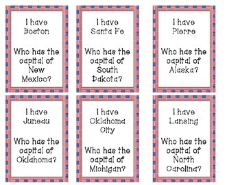 I Have, Who Has...States and Capitals
