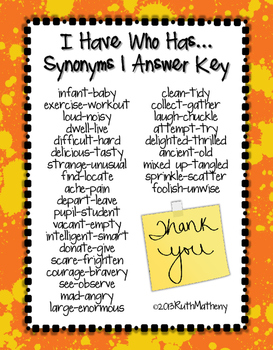 I Have, Who Has...Synonyms (Set 1)