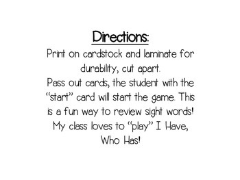 I Have, Who Has? Wonders Sight Words - Kid Theme