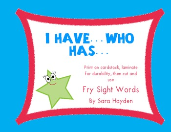 Fry Words: 3rd 100 'I Have..Who Has...' (10 games)