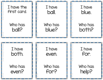I Have...Who has...? High-Frequency Words FREEBIE