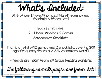 I Have...Who has...? High-Frequency and Vocabulary Words BUNDLE