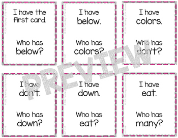 I Have...Who has...? High-Frequency and Vocabulary Words - Set 4