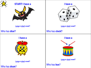 I Have, Who has - Long and Short Vowel Sounds SMALL GROUP