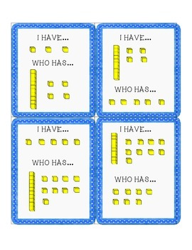 """""""I Have; Who has"""" Number Cards (using numbers and base ten blocks)"""