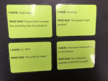 I Have! Who has? Pure Substances and Mixtures review game!