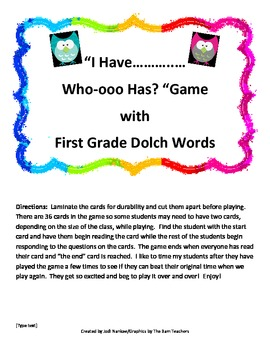"""""""I Have, Who-ooo Has"""" Game with First Grade Dolch Words"""