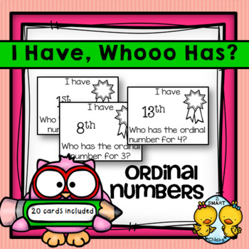 I Have, Whooo Has? Ordinal Numbers From 1st-20th Game