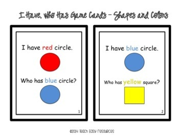 Circle Time Activity - I Have, Who Has Game Card Sets for Pre-K