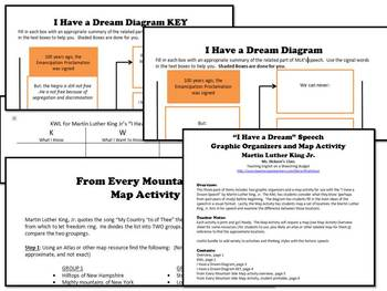 """""""I Have a Dream"""" Graphic Organizers & Map Activity (Martin Luther King Jr) MLK"""