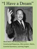 """""""I Have a Dream"""" MLK Word Wall/Post Assessment/Writing Prompts"""