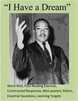 """""""I Have a Dream"""" MLK Word Wall/Post Assessment/Constructed"""