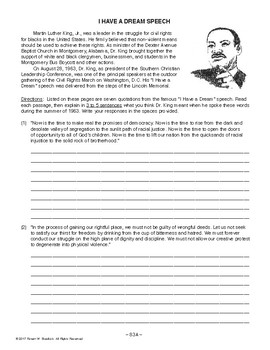 I Have a Dream Speech, AMERICAN HISTORY LESSON 83 of 100 Primary Source Activity