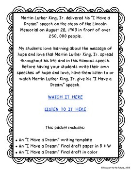"""""""I Have a Dream"""" Writing Assignment"""
