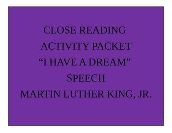 I Have a Dream by Martin Luther King, Jr. Speech Analysis