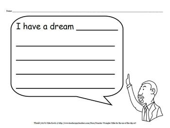 """I Have a Dream"" writing paper - ENGLISH/SPANISH"