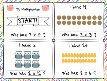 """""""I Have...Who Has?"""" 2's Multiplication Facts with Arrays FREEBIE"""