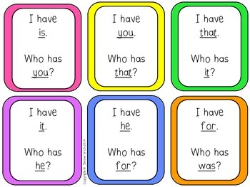 I Have Who Has? - Sight Words Set 1 (36 words)