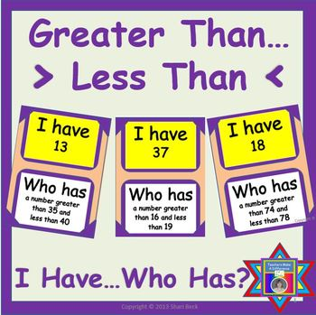 Greater Than...Less Than:  I Have...Who Has... CCSS K.CC.C.6