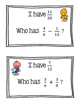 I Have...Who Has...  (Adding Fractions With Unlike Denominators)