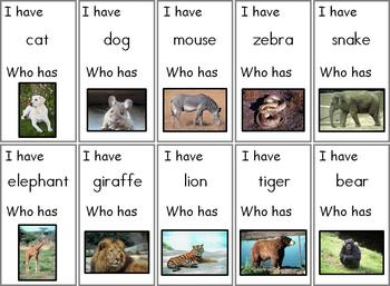 I Have...Who Has Animal Names Cards
