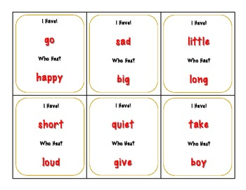 I Have/Who Has - Antonyms
