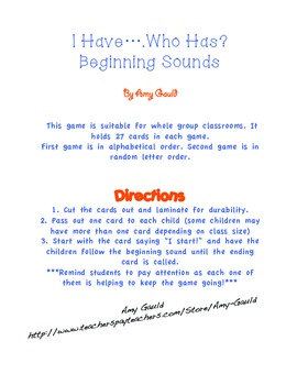 I Have...Who Has Beginning Sounds