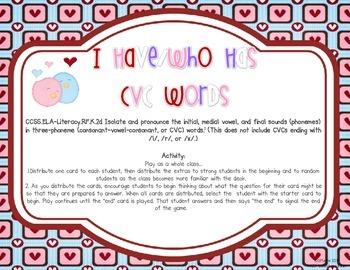 I Have/Who Has {CVC Valentine's Edition}