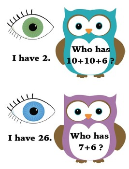 I Have...Who Has Cards - Addition and Subtraction Practice to 30