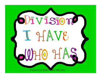 I Have/Who Has Division   FREEBIE