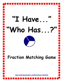I Have...Who Has?: Fractions Learning Game (visual and numerical representation)