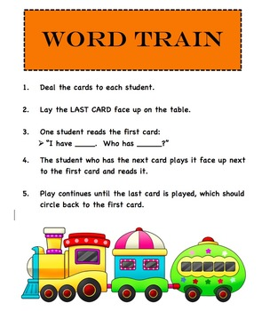 I Have/Who Has Fry's Words Game Cards