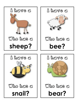 """I Have...Who Has?"" Game {Animal Words}"