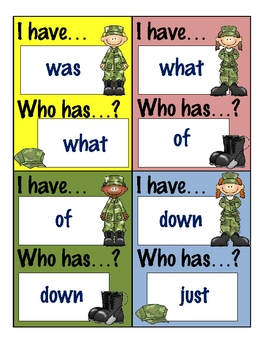 I Have...Who Has...? Game - Basic Sight Words.2