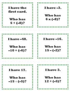 I Have...Who Has Game Cards: Integer Operations