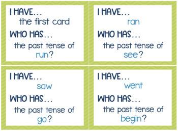 Irregular Past Tense Verbs Game