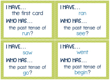 Irregular Past Tense Verbs Game