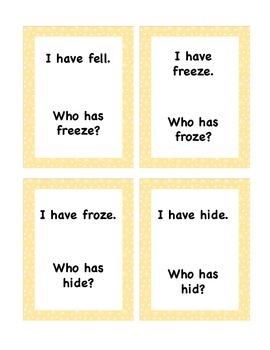 "FREEBIE - ""I Have…Who Has"" Game - Irregular Verbs"