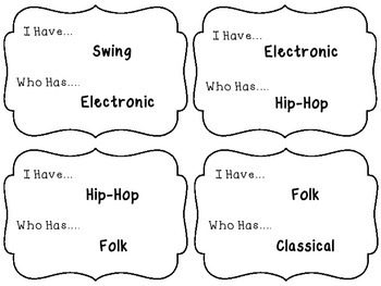 I Have/Who Has Game: Musical Genres & Styles